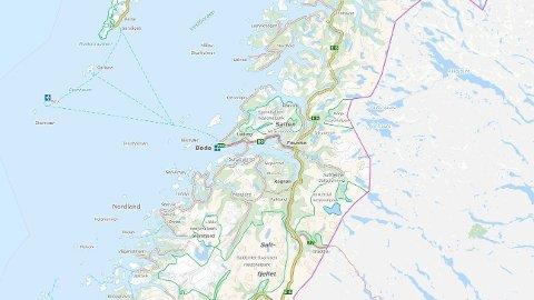 BOLIGBRANN: En bolig brant ned til grunnen i Bognes i Hamarøy kommune i Nordland onsdag.