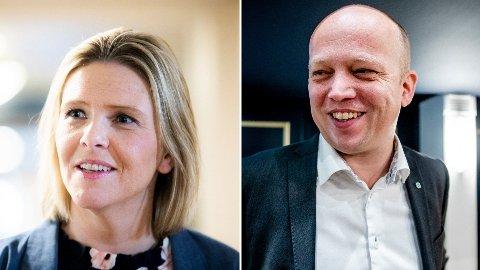 POPULIST-LEDERE: Sylvi Listhaug (Frp) og Trygve Slagsvold Vedum (Sp).