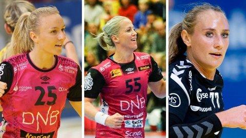 TOPPSPILLERE: Vipers-spiller Henny Ella Reistad (t.v.), Vipers-spiller Heidi Løke (midten) og Sola-spiller Camilla Herrem (til høyre), leverer på et høyt nivå.