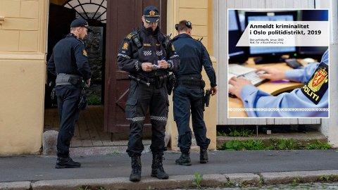 Totalt sett gikk antall anmeldelser ned i 2019, men volden i Oslo øker, skriver politiet i rapporten om anmeldt kriminalitet i Oslo i 2019. På bildet er politiet på utrykning ved Hammersborg i Oslo sentrum i forbindelse med en knivstikking i mai 2019.
