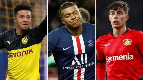 STJERNETRIO: Jadon Sancho, Kylian Mbappé og Kai Havertz er tre av verdens mest ettertraktede unggutter.