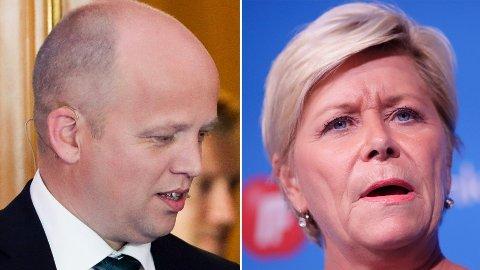 «VILLMANN»: Frp-leder Siv Jensen slår kraftig tilbake mot Trygve Slagsvold Vedum etter uttalelser Vedum kom i VG mandag.