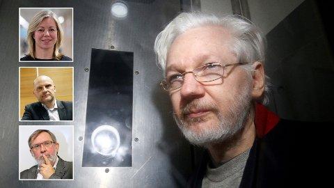 WikiLeaks-grunnleggeren Julian Assange forlater Westminster Magistrates Court i London 13. januar i år. Hasse Farmen mener Aftenposten i lang tid har bedrevet kampanjejournalistikk gjennom blant annet sjefredaktør Trine Eilertsen og kommentatorene Frank Rossavik og Harald Stanghelle (alle innfelt).