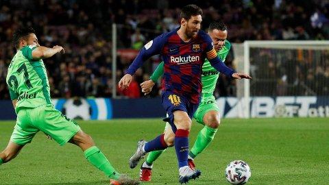Lionel Messi scoret to av målene da Barcelona slo Leganes 5-0 i åttedelsfinalen i Copa del Rey forrige torsdag.