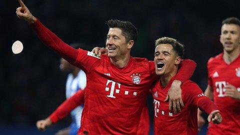 Robert Lewandowski fortsetter å levere scoringer på løpende bånd for Bayern München. Han har allerede notert seg for 22 seriemål i Bundesliga denne sesongen.