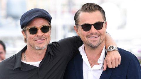 STJERNER: Brad Pitt og Leonardo DiCaprio på rød løper før «Once Upon a Time in Hollywood» ble vist på filmfestivalen i Cannes i 2019.