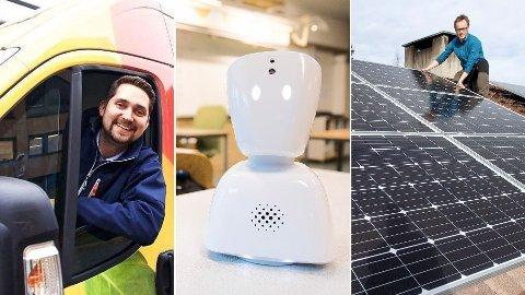 OPPTUR: Her er tre eksempler på norske startups med suksess. Fra venstre: nettmat-konseptet Kolonial.no, tech-selskapet No Isolation og solcelle-selskapet Otovo.