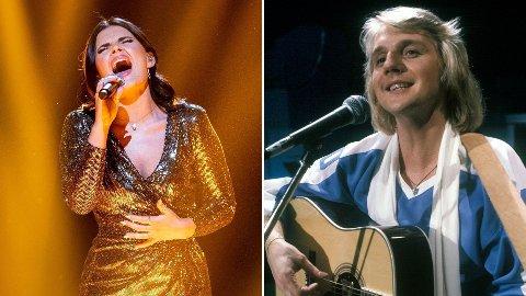 TO VINNERE: Årets MGP-vinner Ulrikke Brandstorp og 1981-vinneren Finn Kalvik med låten «Aldri i livet».