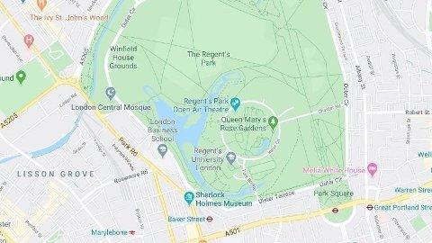 KNIVSTIKKING: En mann ble knivstukket inne i en moské ved Regent's Park i London.