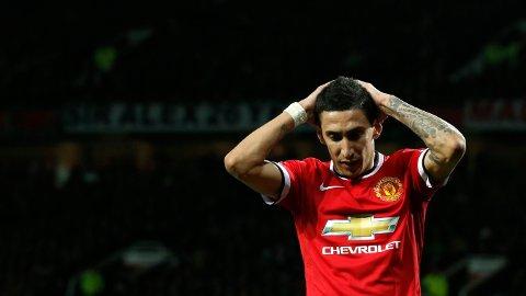 I RØDT: Angel Di Maria fikk en sesong i Manchester United-drakta. Han forlot klubben til fordel for Paris etter et mislykket opphold.