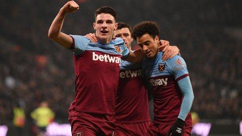 Felipe Anderson, Declan Rice og Aaron Cresswell jubler forhåpentligvis også etter lørdagens hjemmekamp mot Southampton.