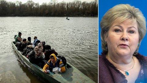 Migranter som har oppholdt seg i Tyrkia forsøker å ta seg inn i Hellas. Senere søndag ettermiddag talte statsminister Erna Solberg på Høyres sentralstyremøte.