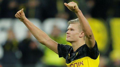 Erling Braut Haaland scoret begge målene for Borussia Dortmund i hjemmekampen mot PSG for tre uker siden, da Dortmund vant 2-1.
