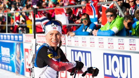 TRIUMFEN GLAPP: Skiskytteren Tiril Eckhoff. Her fra VM tidligere denne sesongen.