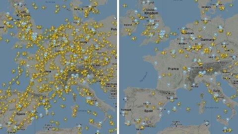 Det er nøyaktig tre uker mellom bildet til venstre og bildet til høyre. Flytrafikken over sentrale deler av Europa har stupt.