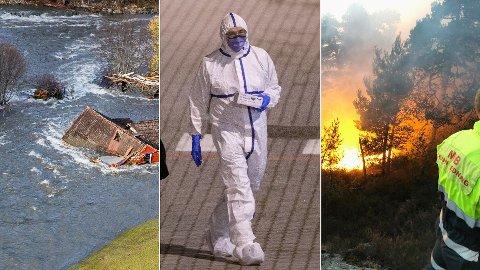 KATASTROFER: Både flom, korona-problemer og skogbrann er ting norske myndigheter trolig må hanskes med i tiden som kommer.