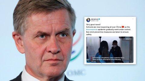 PROPGANDA: Tidligere partileder og statsråd Erik Solheim får kjeft for å dele kinesiske propagandavideoer.