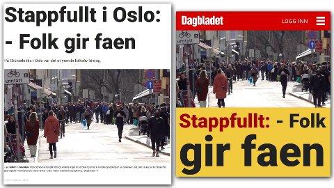 FAKSIMILE: Slik så saken ut på forsiden (høyre) av Dagbladet.no søndag formiddag.