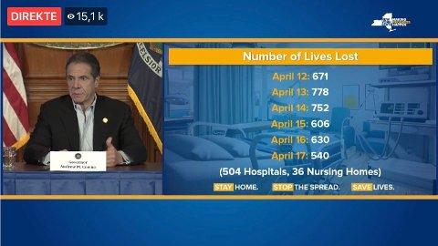 HARDT RAMMET: New York er den hardest rammede delstaten i USA. Guvernør Andrew Cuomo opplyser at det daglig blir lagt inn om lag 2.000 nye pasienter med koronavirus.