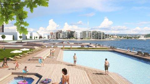 SKRINLEGGES?: Slik kan de bli på Filipstad i Oslo om noen år, med badepark for byens innbyggere og tusenvis av nye boliger. Men det forutsetter at E18 legges under et lokk, noe byrådet ikke vil prioritere, etter det Nettavisen får opplyst.
