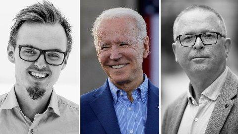 Studenten Eilif Hallingstad Finnseth (t.v.) er ikke imponert over hvordan Fred Heggen (t.h.) går løs på Demokratenes presidentkandidat Joe Biden i sitt siste innlegg i Nettavisen.