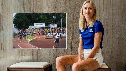 INNOVATIVT: Karoline Bjerkeli Grøvdal skal forsøke å slå Grethe Waitz' rekord fra 1979 ved hjepe av et lys.