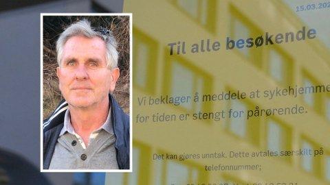 BESØKSFORBUD: - Det har vært en surrealistisk tid, sier Kurt Nordeng (innfelt), en av mange pårørende med familie på sykehjem hvor besøksforbudet gjelder. Helsedepartementet vil nå se på hvilke muligheter som finnes for å gi beboere mer kontakt med familie og venner, samtidig som de beskyttes mot smitte.