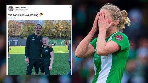 STJERNEMØTE: Hammarbys Emilia Larsson la ut et bilde av henne og Zlatan Ibrahimovic i etterkant av en trening de hadde sammen på Hammarbys damelag. Det skapte reaksjoner.