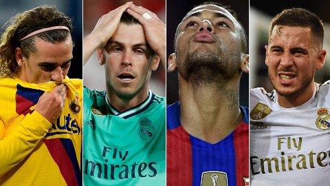 PROBLEMER: Hverken Antoine Griezmann, Gareth Bale, Neymar eller Eden Hazard har klart å ta stafettpinnen etter Lionel Messi og Cristiano Ronaldo.