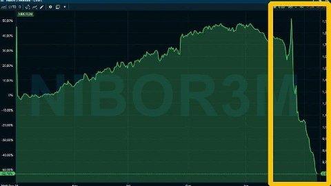 RENTESTUP: 3-måneders NIBOR-rente har falt fra langt over 1 prosent til lave 0,6 prosent nå i april. Foto: (Infront)