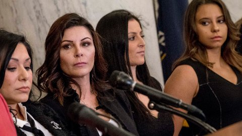 OVERGREPS-OFRE: Jeanette Antolin, Jamie Dantzscher, Dominique Moceanu og Mattie Larson har alle stått frem med sine historier om overgrep fra Larry Nassar.