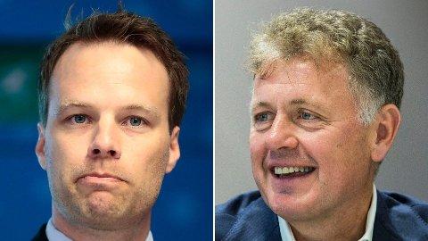 Fremskrittspartiets Jon Helgheim (t.v.) er misfornøyd med Nord-Korea-hentydningen han fikk fra kommentar-hånden til Nettavisens sjefredaktør, Gunnar Stavrum.