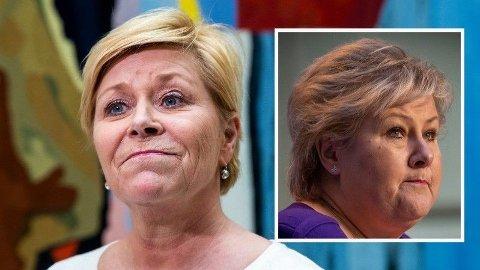 KONFLIKT: Norsk økonomi kollapser, men Erna Solberg (innfelt) og hennes regjering verner bistandsbudsjettet. Frp-leder Siv Jensen varsler kamp om bistandspengene når det kommer et nytt statsbudsjett til Stortinget til høsten.