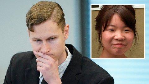 SANDVIKA: Terror- og drapstiltalte Philip Manshaus i rettssalen i Asker og Bærum tingrett i Sandvika onsdag. Innfelt Johanne Zhangjia Ihle-Hansen.