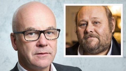 Se og Hørs ansvarlige redaktør, Ulf André Andersen (innfelt), mener det er absurd at NRK, med konsernsjef Thor Gjermund Eriksen (bildet) i spissen, ikke klarer å holde budsjettet, men går kraftig i underskudd.