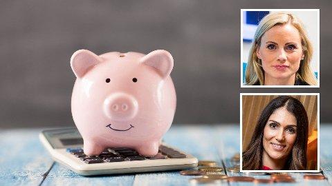 MÅ HA PENGER: Skal du klare deg selv etter et samlivsbrudd, må du ha penger nok til å starte på nytt. Forbrukerøkonomene Silje Sandmæl (innfelt øverst) og Derya Incedursun (innfelt nederst) har mange gode råd.