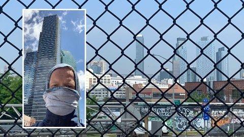 «Er vi dumme som blir værende på et av de mest koronainfiserte stedene på kloden?» skriver Nettavisen-reporter Morten Ø. Karlsen i New York. I New York City er nå mer enn 20.000 personer døde, mens rundt 200.000 er smittet. Her er Karlsen ute og løper i Queens. Til høyre på bildet kan man se en av blokkene han bor i i Long Island City i Queens.