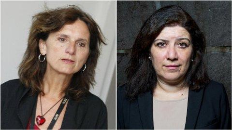 Mina Bai (t.h.) er på ingen måte imponert over hvilket bilde NRK og korrespondent Sidsel Wold (t.v.) maler av Iran.