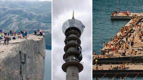 IKKE VERDT DET: Komikerne Nettavisen snakker med, nevner Preikestolen utenfor Stavanger, Tyholttårnet i Trondheim og Sørenga i Oslo som noen av de verste turistfellene.