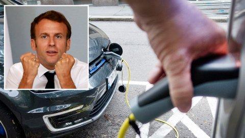100.000 LADERE: Frankrikes president Emmanuel Macron vil bygge 100.000 ladestasjoner for elbiler, og stiller opp med 140 milliarder kroner for å redde fransk bilindustri.
