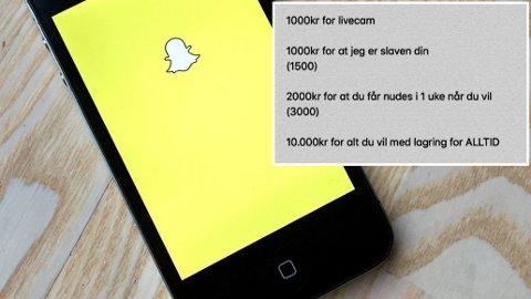 Politiet advarer foreldre mot at døtrene deres selger nakenbilder på Snapchat.