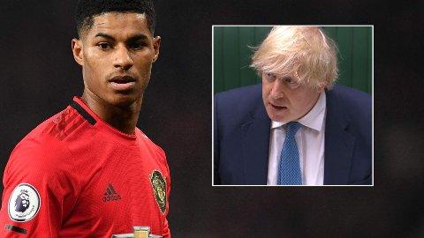 VANT FREM: Manchester United-spiller Marcus Rashford innkasserte en stor politisk seier tirsdag. Innfelt er statsminister Boris Johnson.