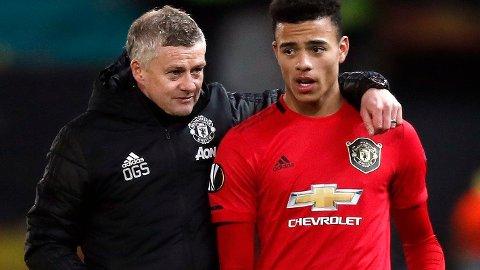 GODT FORHOLD: Manchester United-manager Ole Gunnar Solskjær og Mason Greenwood.