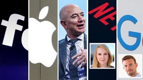 -Den monopollignende posisjonen gjør at de får en enorm makt over både ansatte og de som tilbyr varer og tjenester på plattformen, skriver Janne Log og Morten Munch-Olsen (innfelt) om Faang-selskapene Facebook, Apple, Amazon, Netflix og Google.