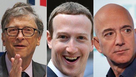 HÅVER INN: Bill Gates, Mark Zuckerberg og Jeff Bezos har økt sine formuer markant under pandemien. Til sammen har USAs fem rikeste blitt over 100 milliarder dollar rikere (ca. 1000 milliarder kroner) siden midten av mars.