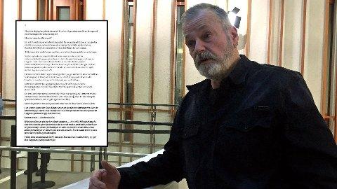 Eirik Jensen lar lagdommer Halvard Leirvik få så ørene flagrer i et brev han har skrevet på fengselscellen i Kongsvinger. Spesialenheten får også gjennomgå. Bildet av Jensen er fra en tidligere rettsrunde.