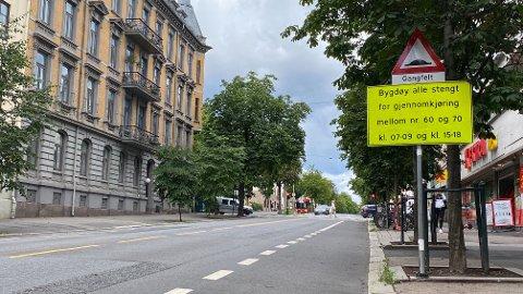 STENGT: Bygdøy allé blir stengt mellom Nobels gate og Thomas Heftyes gate i Oslo fra torsdag.