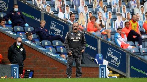 Leeds-manager Marcelo Bielsa fra lørdagens bortekamp mot Blackburn.