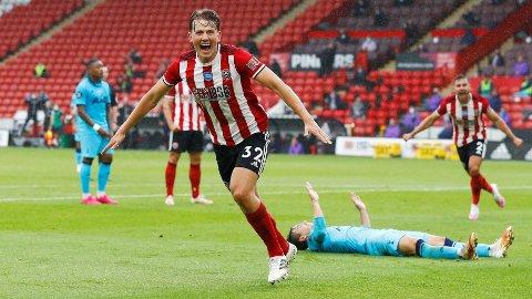 SCORET: Sander Berge kom på scoringslista mot Tottenham.