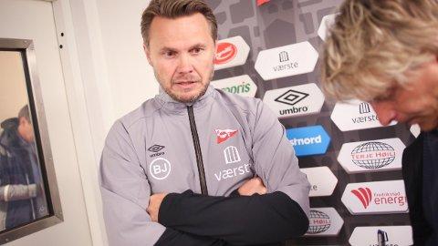 Fredrikstad-trener Bjørn Johansen avbildet etter en kamp i fjor.